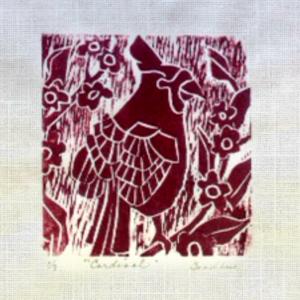 MaryAnn Goodhue Woodblock Printing Cardinal