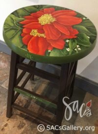 """Wooden Stool with Painted Top"" by Doti Kendrick"