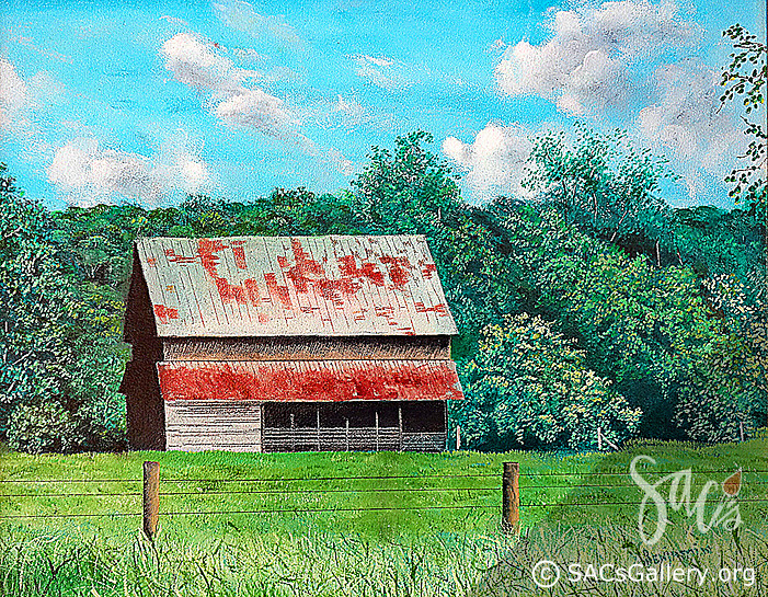 Barn, Nature Painting, Trees, Greenery, SAC's Gallery, Montgomery, AL