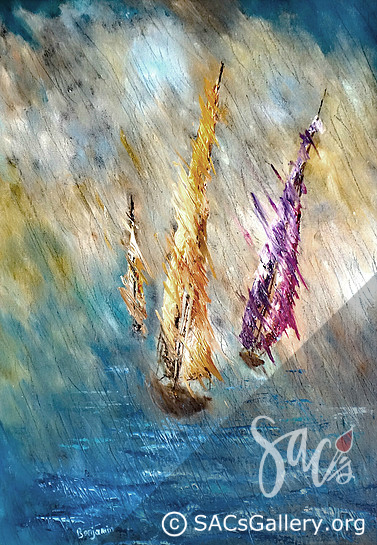 Boats, Harbor, Ocean, Water, Local Artist, Ben Sansom, SAC's Gallery, Montgomery AL Artist