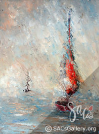 Sailboat, Ocean, Sailing, Water, Local Artist, Ben Sansom, SAC's Gallery, Montgomery AL Artist