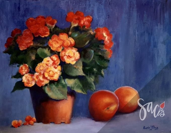 Begonias, peaches, flowers, painting