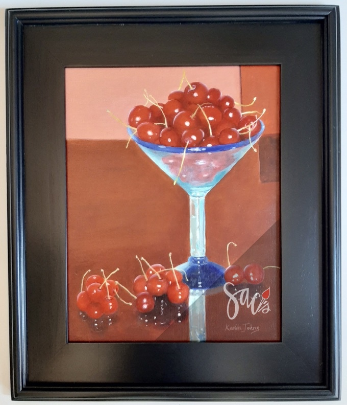 Cocktail glass, cherries, painting, framed