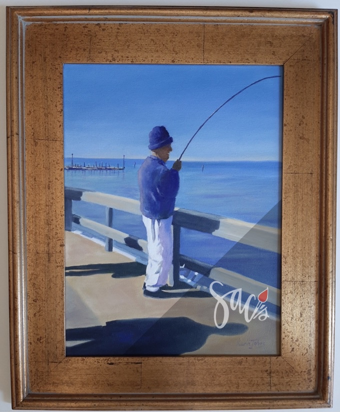 Fisherman on pier, framed painting