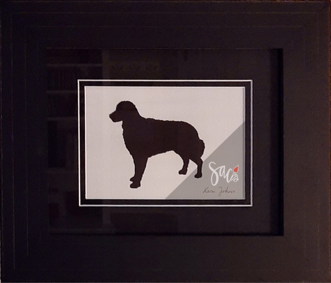 Silhouette of dog, painting, framed