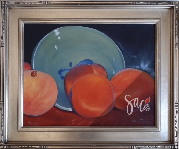Painting of peaches and a plate