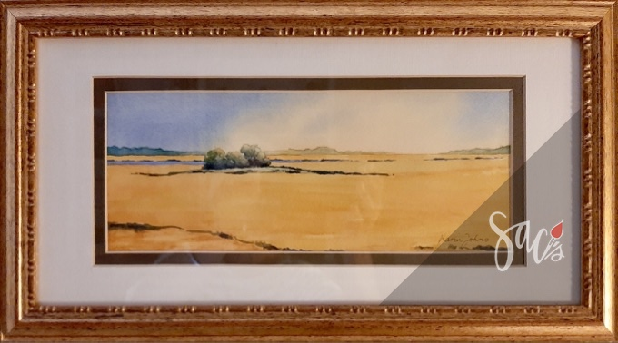 Framed painting of marshes