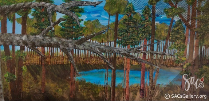 Mixed media painting of a fallen tree, forest lake,