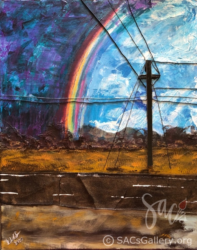 Rainbow, Road, painting