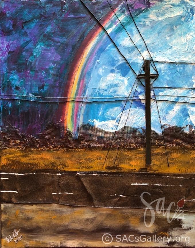 Rainbow, Road, painting