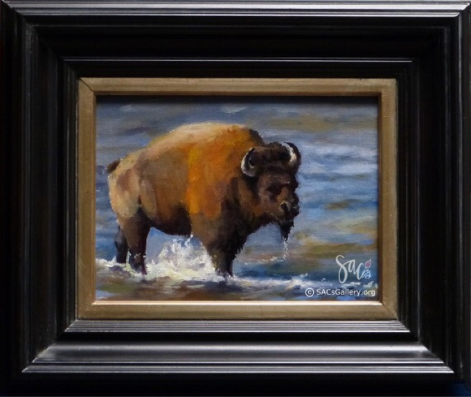 Oil painting of Bison crossing the Yellowstone River, David Jones