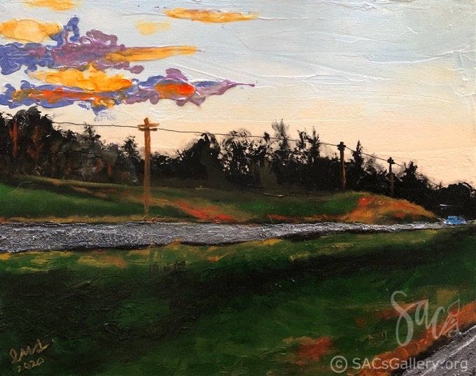 Mixed media painting of skies, road, grass