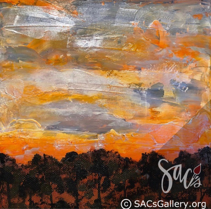 Painting of sunrise over trees