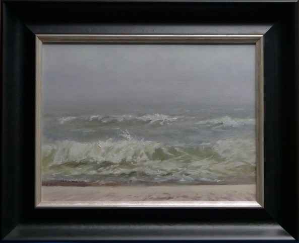 Oil painting of Fog at Orange Beach