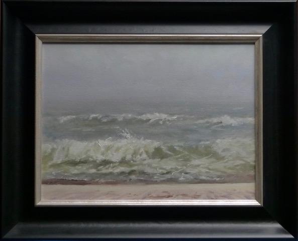 Oil painting of Fog at Orange Beach