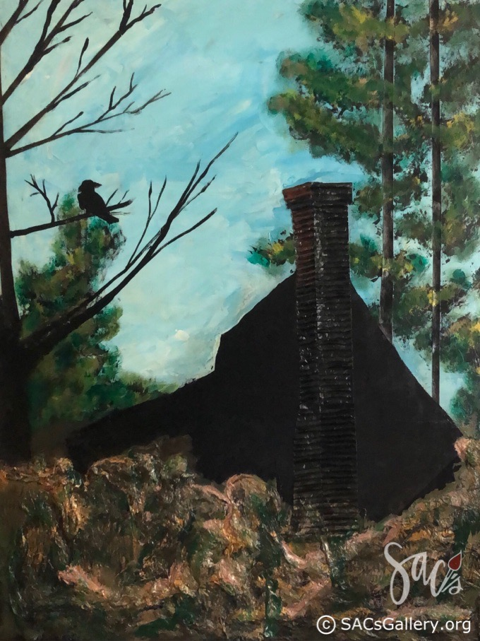 Painting of old house, crow in a tree
