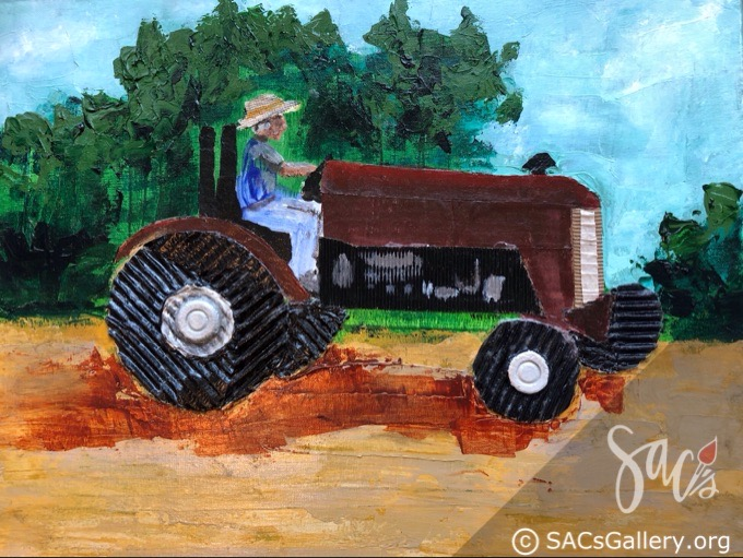 Painting of man driving tractor