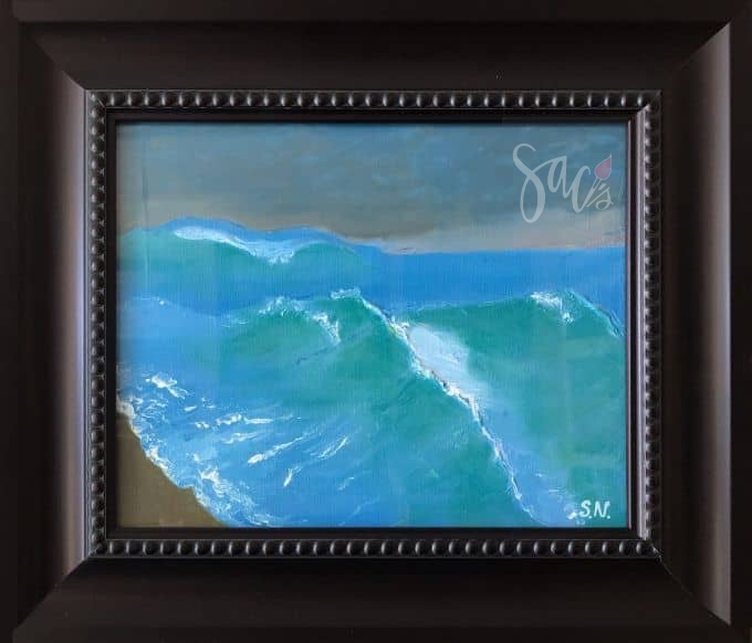 Framed painting of stormy sea by Svetlana Nelson of SACs Gallery