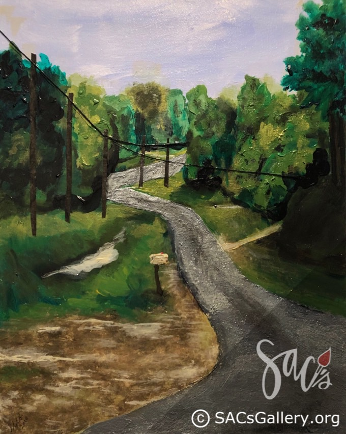 Painting of a road home, trees