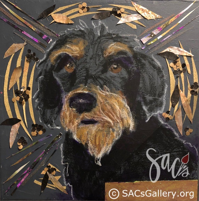 Painting of a Schnauzer dog.
